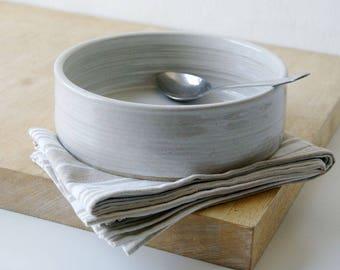 Shallow serving dish - wheel thrown stoneware bowl in brilliant white