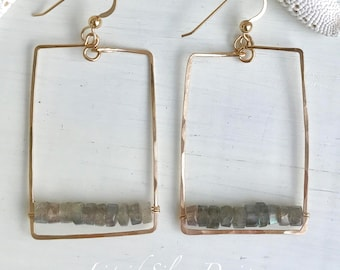 14K hammered gold filled SQUARE LABRADORITE stone disc earrings. Made in Hawaii USA. Gift bff gf mother bride wedding bridesmaid beach