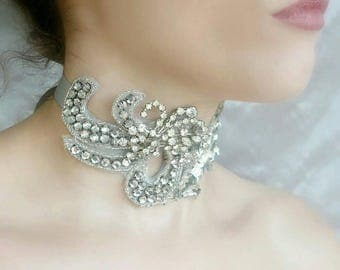 Vintage Rhinestone and Beaded Silver Choker - Victorian, Antique Inspired for Bridal, Prom, Special Events. One of a Kind Handmade in the US