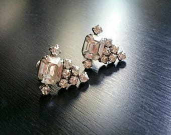 Art Deco Vintage Rhinestone Earrings, Marked, Screw Back Earrings, Clear Crystal Earrings, Art Deco Wedding, Bridal Silver Earrings, Formal