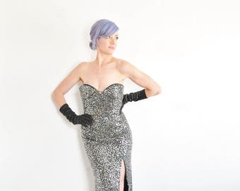 black silver sequin beaded gown . real deal formal disco ball dress .medium.large .sale