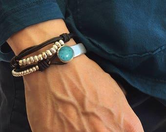 SALE-Silver plated Zamak bracelet.Leather cord.Zamak bead.Silver plated.Leather bracelet.Women bracelet
