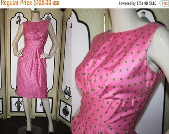 ON SALE Vintage 1960's Dress by Elegant Miss of California in Bubblegum Pink and Green Polka Dots. Small.