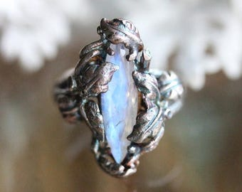 Donate To Bella - Rainbow Moonstone Sterling Silver Ring, Gemstone Ring, Statement Ring, Eco Friendly, Recycled Sterling, Branches - Ship In
