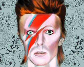 David Bowie Portrait Fine Art Poster Print Customize Color and Background 8x10 in David Bowie Art Poster Print Music Poster Art Print