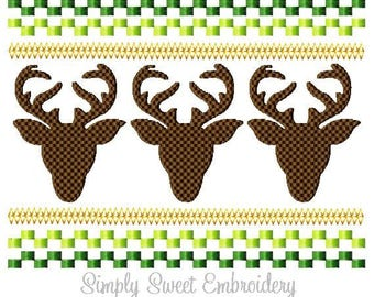 Faux Smocking Deer Heads Machine Embroidery Design