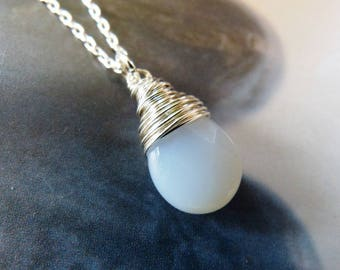 White chalcedony Sterling silver necklace, natural jewelry, handmade pendant, 50th birthday gift, small gift for her, 40th birthday, for mom