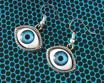 Amazing Evil Eye Earrings... Piercing Blue!