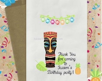 3 PAK TIKI LUAU 5x7 Favor Bags / Adults Kids Teen Birthday Party / Beach / Candy Popcorn Cookie Bags / Pineapple / Personalized 3 Day Ship