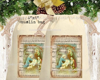 Vintage Nativity Muslin Gift Bag  4x6 / CHRISTMAS Gift Card Holder / Party Favor Bag Sack / Hot Cocoa Packet Holder / QTY DISCOUNT
