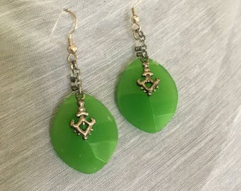 Brilliant Green Gem Earrings with Silver