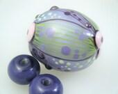 Moogin Beads- Extra large lilac oval focal lampwork / glass bead set   - SRA