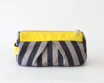 Accessory bag striped grey cotton and yellow leather, makeup bag cosmetic case bridemaids gift zipper pouch - Estia Bag