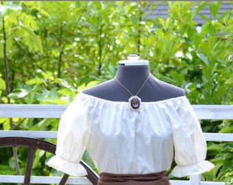 Blouse Only - Renaissance Civil War Victorian Southern Cosplay Pioneer - White or Ivory Short Sleeve Peasant Top Shirt Blouse