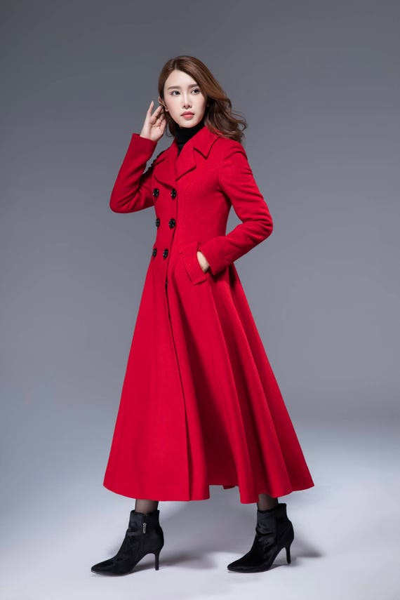 coats for women red winter coat red coat double breasted