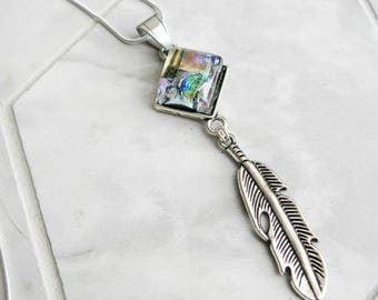 silver feather charm necklace, cowgirl jewelry, dichroic glass, western style, rainbow aura glass necklace, gifts for girlfriend