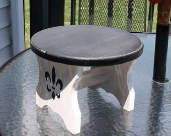 Upcycled Distressed Wooden Stool..Fleur De Lis Decorated Foot Stool..Plant Stand..Doll Display