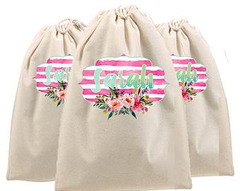 Bridesmaid Bags, personalized bridesmaid gifts, wedding shoe bag, golf shoe bag, lingerie bag, bride tribe bags, matching bride bags, totes