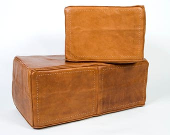 Heavy Leather handmade ottoman (2 piece set)
