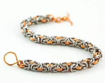 Square Stainless Steel and Bronze Byzantine Chainmaille Bracelet