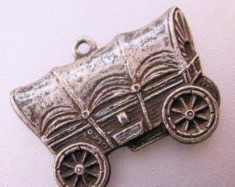 SALE & FREE SHIPPING Antique Vintage Covered Wagon Silver Charm Jewelry Jewellery