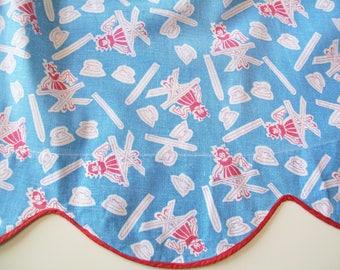 Vintage 1940s Apron, sky blue, red, white, child, ironing, feedsack fabric