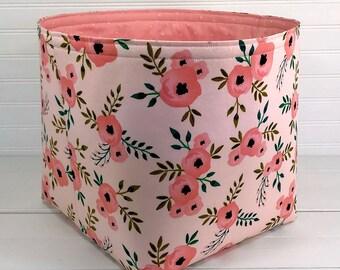 Boho Basket Large 10 x 10 Boho Bin Boho Nursery Boho Storage Bin Blush Pink Basket Blush Pink Bin Flowers Floral Blush Pink Coral Bohemian