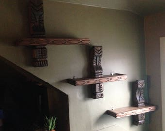 Set of three witco style hand carved wood tiki shelves