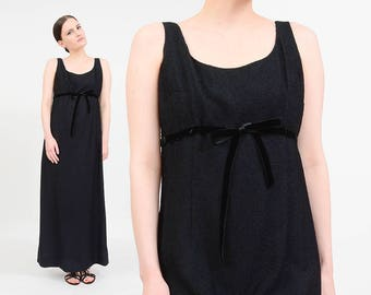 Vintage 60s 70s Black Maxi Dress   Minimalist Maxi Dress   Empire Waist Dress   Black Velvet Bow   Mod Formal Cocktail Dress   Medium M