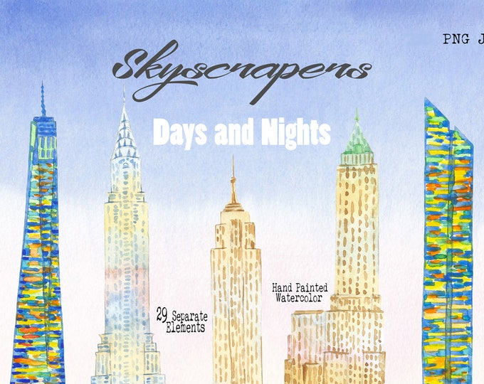 Skyscrapers.New York, Clip Art, Watercolor Clipart, New York City, building, New York, America, USA, Manhattan, Watercolor Clip art