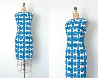 vintage 1960s dress / blue graphic print wiggle dress / medium m