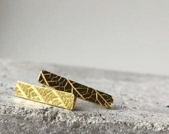 Handmade 22k gold posts, gold studs, leaf earrings, bar earrings, bar posts, leaf print earrings