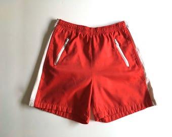 Vintage Men's 80's Red, White, Shorts, Zipper Pocket, Striped (S)