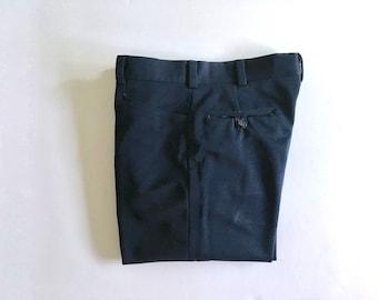 Vintage Men's 70's Navy Blue, Polyester, Pants, Straight Leg (W34 x L32)