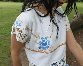 Crop Top Vintage Floral Top Boho Embroidered Lace Crochet