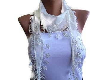 Cream white cotton lace scarf-ivory whitel skinny scarf-Buy 3,get 1 free-Scarflette with lace trim-Skinny scarf headband-