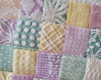 Vintage Chenille Fabric Quilt Squares - 60 - 6 inch squares lavender, green & yellow - 30 pairs - 500-200
