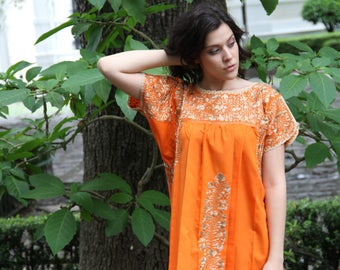 Orange with Antique Gold Embrodery Mexican Wedding Dress