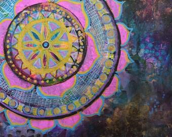 Gilded Mandala // Original Acrylic Painting - 9 x 12