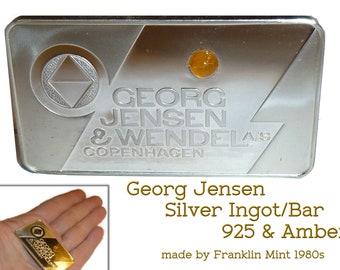 24 Grams Sterling Silver Ingot Bar with Amber. Georg Jensen & Wendel Denmark. Made by Franklin Mint 1978.