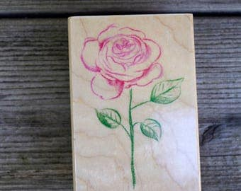 Hero Arts Wood Mounted Rubber Stamp Outline Rose