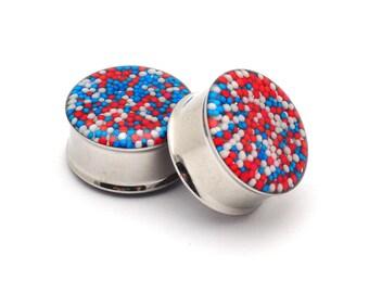 """Embedded Patriotic Sprinkles Plugs gauges - 00g, 7/16"""", 1/2, 9/16, 5/8, 3/4, 7/8, 1 inch"""