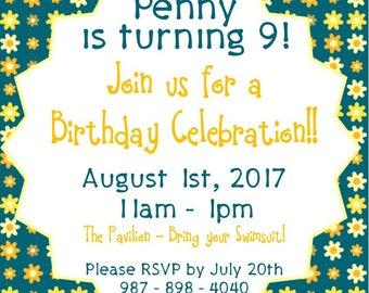 "Flower Party 5""x5"" Custom Party Invitation Digital Printable"