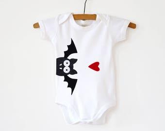 Baby Bat Bodysuit : Organic Baby Bodysuit,  Baby Halloween Bodysuit