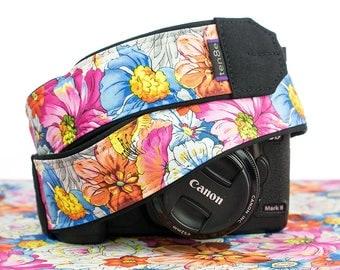 Floral Camera Strap, Flowers,  dSLR, SLR, Mirrorless, Universal fit, Canon, Nikon, Sony, Pentax, 304