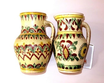 """set of Eastern Europe UKRAINE 8 1/2"""" two hand painted incised CERAMIC PITCHERS,rustic Hutsul tradition,Pitsyn, Kosov,brown,yellow,cream"""