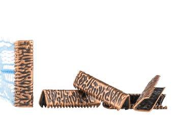 500pcs. 22mm or 7/8 inch Antique Copper No Loop Ribbon Clamp End Crimps - Artisan Series