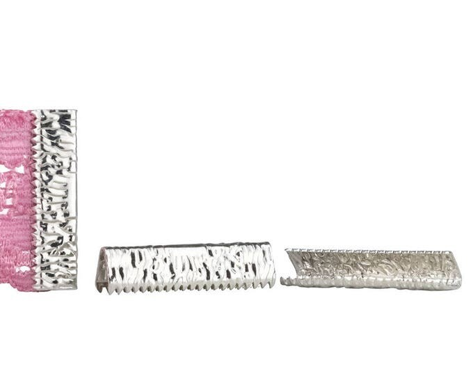 50pcs.  25mm or 1 inch - Platinum Silver No Loop Ribbon Clamp End Crimps - Artisan Series