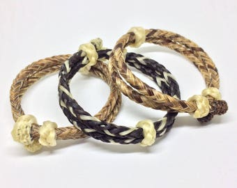 Custom Braided Traditional Adjustable Horse Hair Horsehair Bracelet With Sliding Knot Clasp - 6MM Round Braid