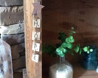 rustic scrabble tile 'hope' sign